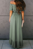 Sage Green Glaze High Low Off The Shoulder Maxi-jurk
