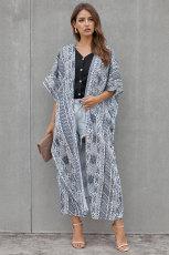Bílá černá česká kravata Kimono