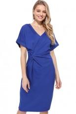 Μπλε V Αντίσταση Cutout Αντίστροφη Pleated Bodycon Φόρεμα