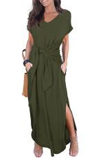 Zelená Neformální Loose Pocket Krátký rukáv Split Maxi šaty