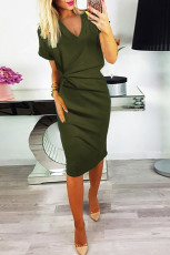 Green V cổ cutout ngược Pleat Bodycon Dress