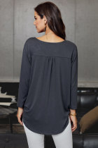 Grey Wrap Hi-lo Hem Blouse