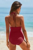 Rød høykjole Ruched Monokini badetøy med selvbindestropp
