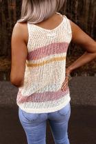 Rezervor tricotat cu dungi colorate în dungi albe