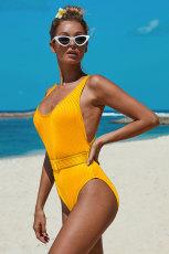 ملابس السباحة الصفراء مضلعة من قطعة واحدة مع حزام