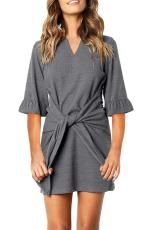 Grey V Neck Ruffled Sleeves Waist Tie Mini Dress