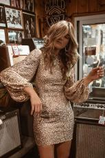 Mini Dress Puffy Sleeve Sequin Lengan