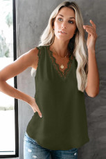 Rêzeya Sêvê Teyrana Green Sleeveless Lace V Teck Top