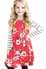 Red Spring Fling Цветочные полосатые рукавом короткое платье для детей