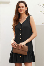 Black Pocketed Button Down Tank Dress