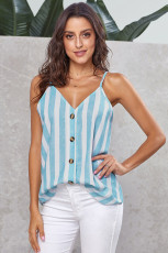 Sky Blue Button Up V Neck Strappy Shirt Cami Top