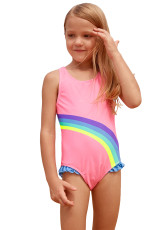 Cute Rainbow Trim Pink Baby Girls One Piece Badedrakt