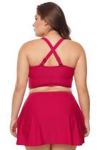 Red Wireless Plus Bikini Bikini Top și Swim Fust Set
