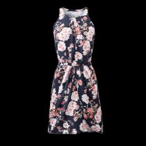 Musta pitkähihainen kaulan kukka tulostettu hihaton rento mini mekko