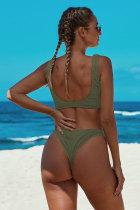 Grøn knyttet Bikini badedragt i to dele