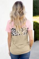 Pink farveblok T-shirt