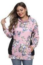 Svart / rosa blomsterprint patchwork pluss størrelse genser