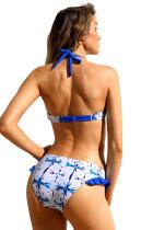 Vihreä sininen Splash Frill Trim Halter Bikini Uimapuku