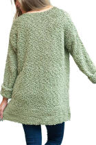 Green V Neck Popcorn Textura Loose Fit Pulover