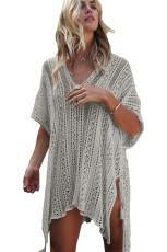 Grey Crochet Rajutan Rumbai Dasi Kimono Beachwear