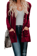 Button Red Pocketed Cardigan