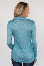 Sky Blue All This Time Zip Pullover Top