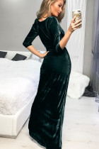 Verde profundo decote em V Ruched Side Slit Party Velvet Dress