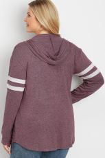 Lilla Pullover hettegenser med pluss størrelse