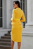 Gul langermet Falbala asymmetrisk pullover kjole