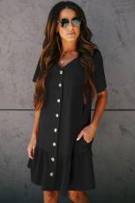Μαύρο τσέπη με κουμπιά κάτω φόρεμα