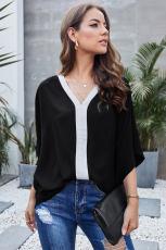 Svart Mote Kontrast Farge V Nakke Bluse