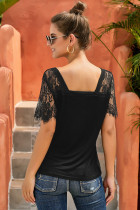 Black Sweet Side Lace Deep V Neck Top T-shirt