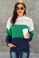 Sêwek Tundleneck Tundleneck Sleeve Tundleneck dirêj a Chunky Batwing Oversized Blue
