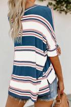 Blå hvid pink farvet stribet print løs skjorte