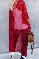 Rød stripet dusk Kimono