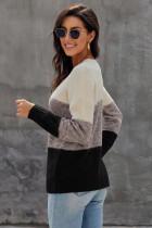 Μαύρο χρώμα μπλοκ καθαρισμένο υφασμάτινο πουλόβερ πουλόβερ