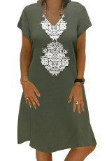 Green Summer Tribal Print V-Neck Shift Casual Dress