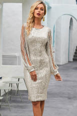 Silver Sequin Tassel Sleeve Bedcon Evening Dress