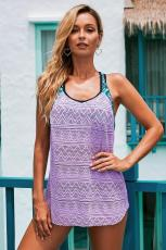 Purple Printed Patchwork Vest Tankini Top