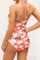 Слитный купальник с цветочным принтом и кружевом спереди