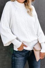 Hvid housewarming kabelstrik ballonærmet sweater