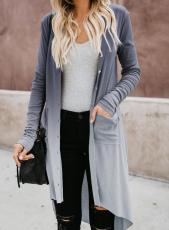 Button Gray Ombre Down Cardigan High Low Pocketed