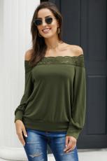 الدانتيل الأخضر التفاصيل بلوزة القميص البلوز