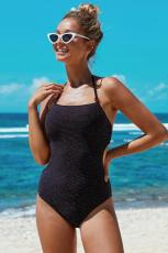 Black Scatter Halter One-piece Swimsuit