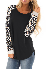 Black Leopard Print Top Sleeve Pullover Top