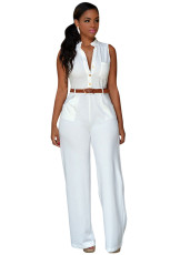 White Neck Button Butsed Jumpsuit with Belt