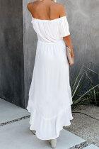 Esmalte branco alta baixa fora do ombro vestido maxi