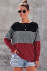 Raglan Sleeve Sweatshirt Polllover Color Block Raglan