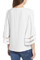 Hvit Criss Cross Neck 3 / 4 Bell Sleeve Blouse