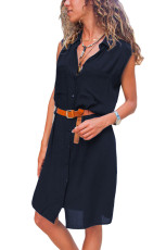 Blue Pockets Buttoned Sleeveless Shirt Dress